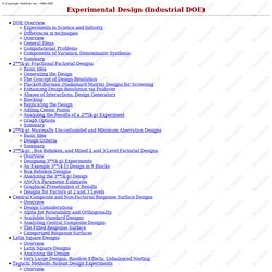 Experimental Design (Industrial DOE)
