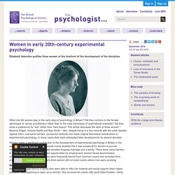 Women in early 20th-century experimental psychology