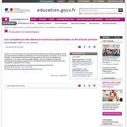 Les compétences des élèves en sciences expérimentales en fin d'école primaire - Ministère de l'éducation nationale