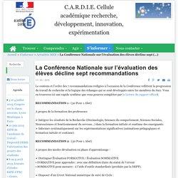 C.A.R.D.I.E. Cellule académique recherche, développement, innovation, expérimentation - La Conférence Nationale sur l'évaluation des élèves décline sept recommandations