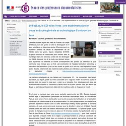 Le FabLab, le CDI et les livres : une expérimentation en cours au Lycée générale et technologique Condorcet de Lens — Professeurs documentalistes