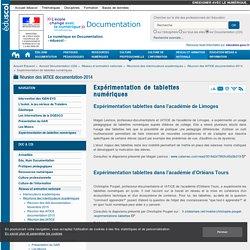 Expérimentation de tablettes numériques — Documentation (CDI)
