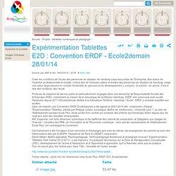 Expérimentation Tablettes E2D : Convention ERDF - Ecole2demain 28/01/14