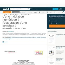 Les musées et Internet : de l'expérimentation d'une médiation numérique à l'élaboration d'une stratégie ?