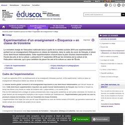 Collège - Expérimentation d'un enseignement « Éloquence » en classe de troisième