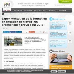 Expérimentation de la formation en situation de travail : un premier bilan prévu pour 2018
