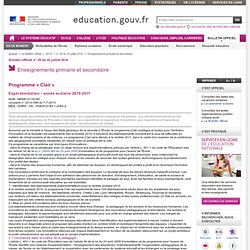 Expérimentation - année scolaire 2010-2011 - MENE1017616C - Ministère de l'éducation nationale