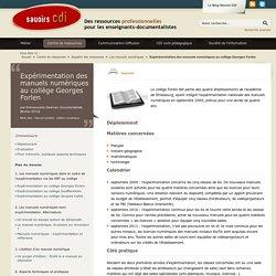 Expérimentation des manuels numériques au collège Georges Forlen