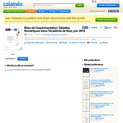 Bilan de l'expérimentation Tablettes Numériques dans l'Académie de Nice, juin 2012
