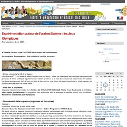 Expérimentation autour de l'oral en Sixième : les Jeux Olympiques