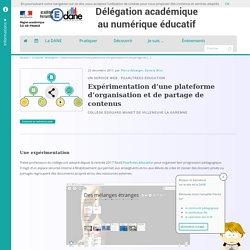 Expérimentation d'une plateforme d'organisation et de partage de contenus