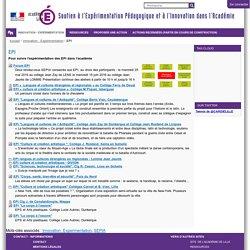 EPI — Soutien à l'Expérimentation Pédagogique et à l'Innovation dans l'Académie