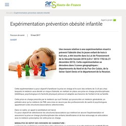 Expérimentation prévention obésité infantile