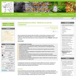 Expérimentation en 4ème : Relations au sein de l'organisme - Site des Sciences de la Vie et de la Terre de l'Académie de Limoges