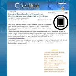 Expérimentation tablettes en français : un blog-journal pour suivre l'aventure au jour le jour