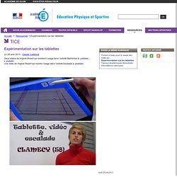 Expérimentation sur les tablettes - Education physique et sportive