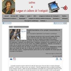 Expérimentation d'un projet transmédia en LCA - [Lettres & Langues et Cultures de l'Antiquité]