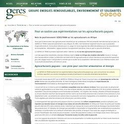 GERES - expérimentations sur les agrocarburants paysans