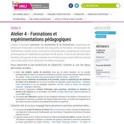 Atelier 4 – Formations et expérimentations pédagogiques