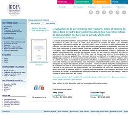 Communiqué de presse : L'évaluation de la performance des maisons, pôles et centres de santé dans le cadre des Expérimentations des nouveaux modes de rémunération (ENMR) sur la période 2009-2012