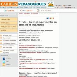 533 - Créer et expérimenter en sciences et technologie