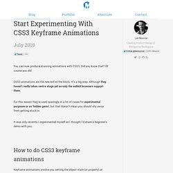 Start Experimenting With CSS3 Keyframe Animations | Lee Munroe