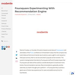 Foursquare Experimenting With Recommendation Engine