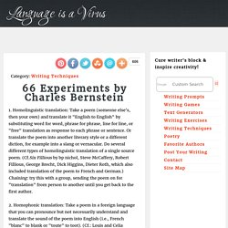 66 Experiments by Charles Bernstein