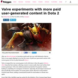 Valve experiments with more paid user-generated content in Dota 2