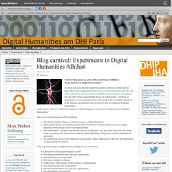 Blog carnival: Experiments in Digital Humanities #dhiha6