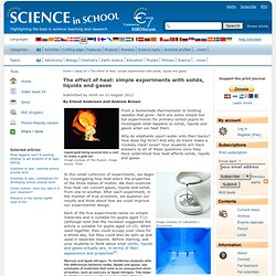The effect of heat: simple experiments with solids, liquids and gases