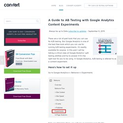 A Guide to AB Testing with Google Analytics Content Experiments - Conversion Optimization Blog