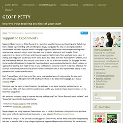 Supported Experiments - Geoff PettyGeoff Petty