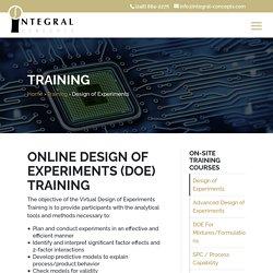 Design of Experiments Training (DOE) - Integral Concepts