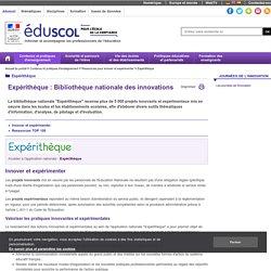 Expérithèque : bibliothèque nationale des innovations