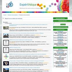 Expérithèque - Formulaire de recherche