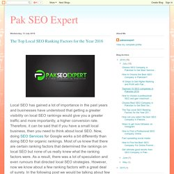 Pak SEO Expert: The Top Local SEO Ranking Factors for the Year 2016
