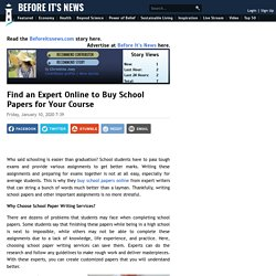 Find an Expert Online to Buy School Papers for Your Course