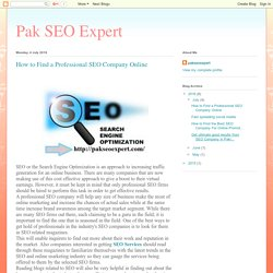 Pak SEO Expert: How to Find a Professional SEO Company Online