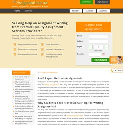 Expert Help on Writing Assignments Online