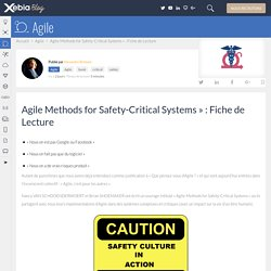 Agile Methods for Safety-Critical Systems» : Fiche de Lecture