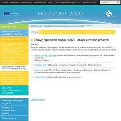 Zprávy expertních skupin H2020 - oblast životního prostředí ‹ Aktuality