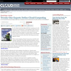 Twenty-One Experts Define Cloud Computing