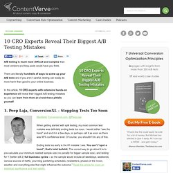 10 CRO Experts Reveal Their Biggest A/B Testing Mistakes