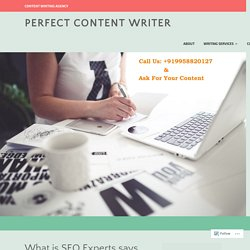 What is SEO Experts says SEO is? – Perfect Content Writer
