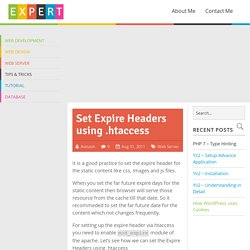 Set Expire Headers using .htaccess