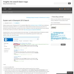Explain rank in Sharepoint 2013 Search