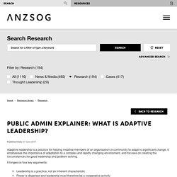 Public admin explainer: What is adaptive leadership?