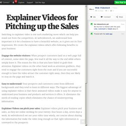 Explainer Videos for Pitching up the Sales