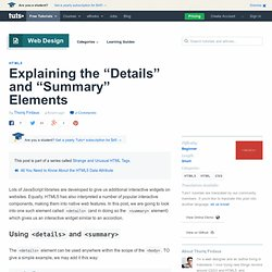 "Explaining the ""Details"" and ""Summary"" Elements"